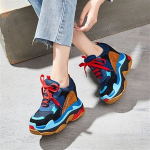 SWYIYV Fashion Shoes Women Platform Sneakers Leather New Hided Increased Chunky Heels Casual Shoes Wedge Sneakers Black 201217