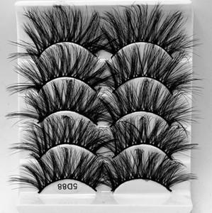 5 Pair  Pack Fluffy Lashes 25mm 3d Mink Lashes Long Thick Natural False Eyelashes Wholesale Lashes Vendors Makeup Mink Eyelashes
