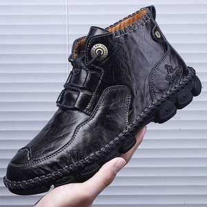 genuine Leather Men ankle boots handmade sewing Fashion Men round Toe Mid-Calf Boots For Male Leather big szie 48 o4 huVR#