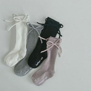 New Kids Bows socks Girls cotton princess socks children vertical stripe knitted 3 4 knee high socks Baby Long Sock A4750