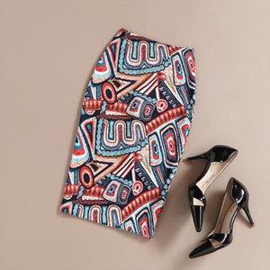 Pintura Moda Vintage Ladies New Vintage impressão outono cintura alta estiramento One Step Pencil Skirt longo Bodycon Saias Femininas