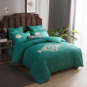 Alanna 6шт постельное белье Set Европа стиль твердых цветов хлопчатобумажная вышивка утешитель кровать кровать наборы листового одеяла наволочка1
