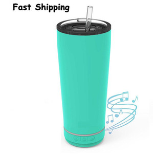 New 18oz Creative Bluetooth Music Tumbler Waterproof Speaker Double Wall Thermos Stainless Steel Portable Coffee Cup New Year Gifts DDA3335