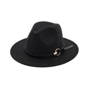 Женщины Men Fedora Hat с кожаной лентой Fedoras Jazz Hat Открытая случайная шапка Джентльмены Элегантная широкая Brim Cap Winter Panama Cap 169 K2