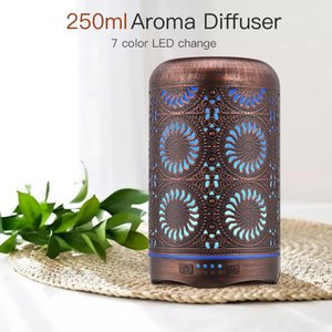 FreeShipping 250ml Bronze Metal Air Home Humidifier Aromatherapy Diffuser Essential Oil Fogger Mist Maker 7 Color Night Light