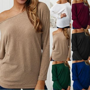 2020 Spring Women Sexy Off Shoulder Solid Long Batwing Sleeve Knitwear Sweater Ladies Casual Loose Striped Shrug Tops Pullovers1