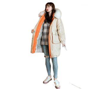 Zvaqs inverno jaquetas mulheres 2020 roupas femininas para baixo algodão enorme casacos grossos peles churrasco colar parkas mulher abrigo tn451