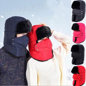 2018 más nuevo caliente caliente Hombres Mujeres con orejeras de invierno de esquí sombrero por completo la cubierta del casquillo de la cara impermeable Fleece Sombrero zoja #
