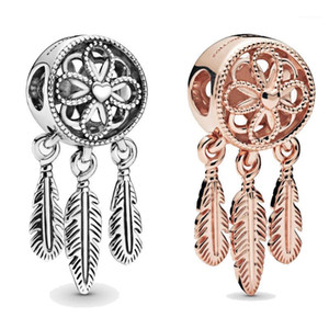 Classic 925 Sterling Silver Charm Openwork Flower Feather Spiritual Dream Catcher Pendant Beads Fit Bracelet Diy Jewelry1