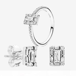 CZ خاتم الماس حلق مجموعة مجوهرات الزفاف 925 لباندورا متألقة ساحة هالة وأقراط خواتم مع مربع الأصلي للمرأة