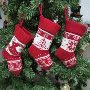 Natal Knitting Socks 9 Inch Fios de malha Gift Bag Festival Xmas indoor Ornamento de suspensão Crianças Doce Sock EWC2918
