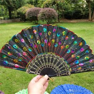 Pavo real bordado de las lentejuelas plegable del boda del partido del regalo del favor de la Ventiladores Ventiladores de plástico mano de la danza de la boda accesorios de decoración