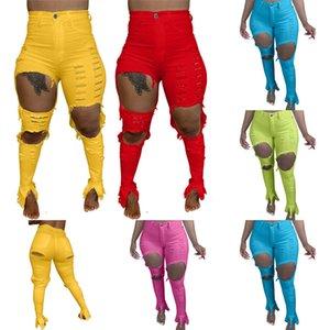 Femmes Jeans Pantalons déchirés longs Slim Skinny Hole Denim Mode personnalisé Femme Jeans Pantalons creux Pantalon crayon avec grand trou HH12103