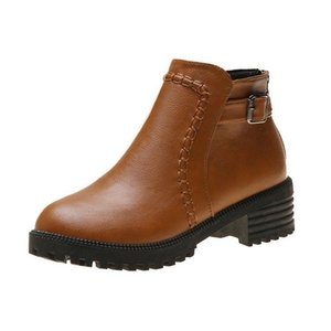 Boots di grandi dimensioni in stile europeo e americano di Okkdey 2021 New PU Low Tube Tube Plat Gomma Round Toe Casual Boots casual da donna