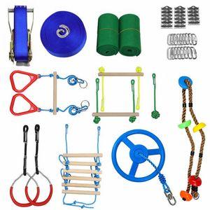 Ninja Warrior Obstacle Course Ninja Slackline Various Accessories As Swing Obstacle Net GYM Rings Monkey Bars Kit Rope Ladder Q1225