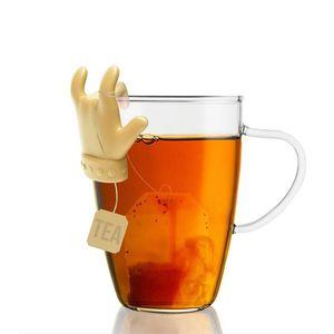 Tea Bag Shelf Cute Finger Shape Silicone Cup Mug Spoon Holder Tea Bag Clip Candy Colors Good Teas Tools Tea Infuser 55 O2