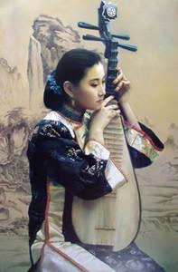 Güzel Çinli genç bayan oynama Pipa Ev Dekorasyonu Handpainted HD Yağ Tuval Wall Art Canvas Pictures 201020 On Boyama yazdır