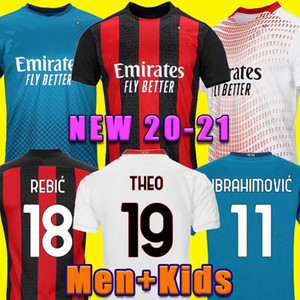AC Milan 20 21 Jersey di calcio Ibrahimovic 11 Paqueta Bennacer Romagnoli Calhanoglu 2020 2021 Camicia da calcio Theo Rebic Maillot Men + Kid Kit Kit