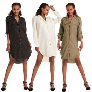 European and American Women's Loose Long Shirt CS528 Women Blouses Shirts Collar Blouse Undefined Tops for Women Fashion