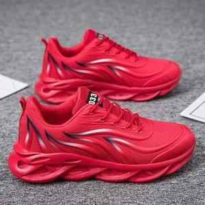 Lujos diseñadores zapatos hombres moda elástica suela cuchilla zapatillas de deporte tenis entrenadores zapatos transpirable malla mayor trotar caminando o