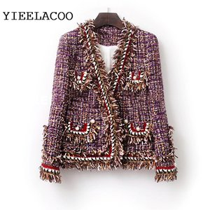 Purple Tweed women Jacket one-piece Spring   Autumn women's jacket New Small Fragrance Burr ladies jacket coat 201013