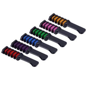 6PCS Brosse à cheveux Coloration Soins temporaires Dye Combs Semi Permanent Multicolor Chalk Avec peigne 6 couleurs en gros