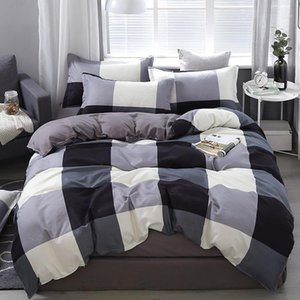 50 3 4pcs Bedding set Plaid Grid Soft Home duvet cover set Avocado Twin Full Queen King Size Quilt cover Bed Sheet Pillowcases1