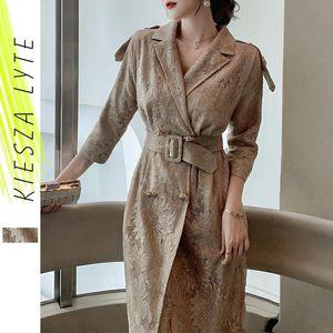 Kiesza Lyte Fashion Designer Robe 2021 Printemps Elegant Broderie Golden Robe de soirée Midi Vêtements Royal de luxe pour femmes