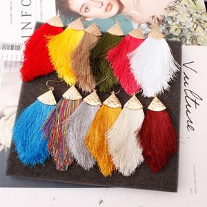 Arrowhead Triangle Boho Silk Tassel Dangle Boutique Earrings 2021 Spring Summer Jewelry Bohemian Oversized Tassel Hook Earrings Z1850