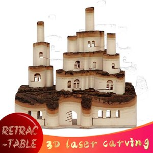 القلعة الخشبية الصلبة استعادة Fairytale Forest الإبداعية السرو نحت الجدة الحرف الصغيرة الديكور مدينة تلسكوبية