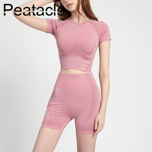 Peatacle 2pc Sport Set Suit Fitness Gym Exercise Workour Clothing for Women Active Wear Yoga Outfit Short Sleeve Shorts 2020