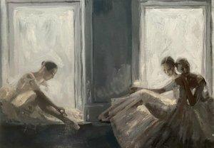 """""""Riposo"""" Ballet Dance Girls Donna Girl Decoration Home Decoration Handpainted HD Stampa Pittura ad olio su tela Grande parete Art Immagini di tela 210123"""