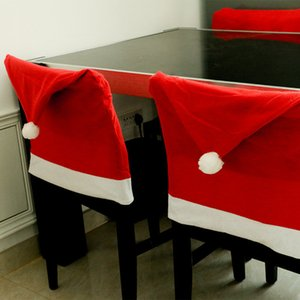 100PCS Santa Clause Red Hat Chair Back Covers Christmas Chair Cover Dinner Chair Cap Sets For Christmas Xmas Home Party Decor