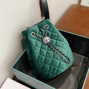 Fashion Quality 2020 Vintage New High Lattice Bucket Velvet Women's Designer Handbag Chain Shoulder Messenger Travel Bag