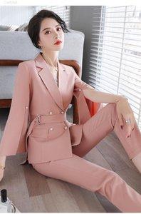 Novedad Pink Formal Uniformes Diseños Pantalones Cuantos Con Pantalones Y Chaquetas Abrigos Mujeres Trajes De Negocios Ladies Blazers Profesionales1