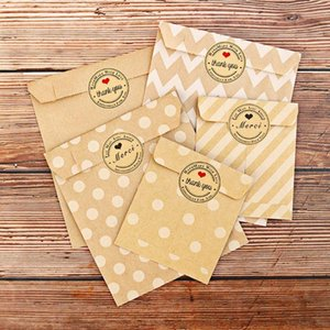 24 stickers+24 pcs Kraft Paper Bags Treat Candy one time Bag Environmental protection Polka Chevron Dot
