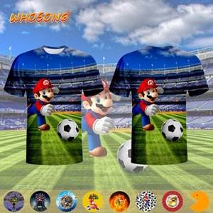 Mario bellezza camicia interessante calcio fuoco 3D T cartoni animati divertenti WHOSONG ragazzi portano via abiti da uomo maglietta
