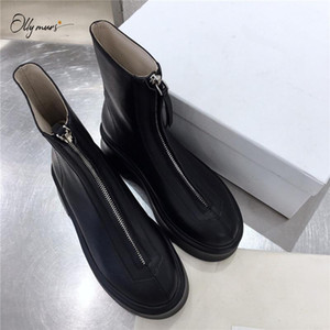 OllyMurs Fashion Style Black White Genuine Leather Women Ankle Boots Round Toe Front Zip Thick Low Heel Women Boots Shoes Woman