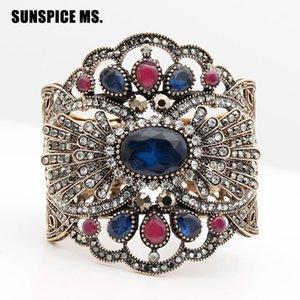 Sunspice MS Vintage Türk Kadınlar Broadside C Bileklik Antik Altın Renk Reçine Fas Etnik Çiçek Bilek Jewelry1