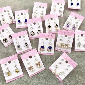Wholesale Stud Crown Princess Cross Wedding Earrings Fashion 3 Pair Lot Silver Gold Rhinestone Pearl Opal Zircon Trendy Jewelry Free DHL