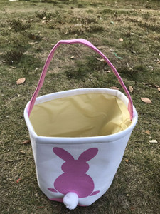Easter Rabbit Basket Easter Bunny Bags Rabbit Printed Canvas Tote Bag Egg Candies Baskets 4 Colors OOA3960