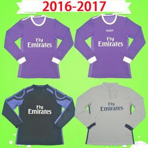 طويلة الأكمام 2016 2017 الرجعية ريال مدريد لكرة القدم جيرسي رونالدو بيبي كروس بنزيما الكامل لكرة القدم قميص 16 17 جيمس خمر camiseta دي fútbol