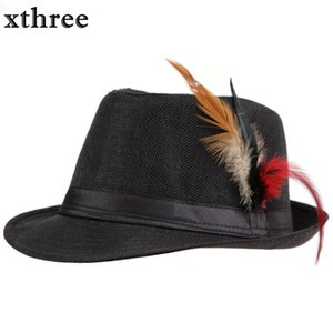 tüyler Fedora Trilby Cap İçin Kadınlar Yaz Plaj Güneş Hasır Panama Şapka Erkekler Moda Şapkalar ile Xthree Moda Unisex Yan