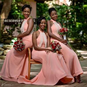 2020 africaine sirène robes de demoiselle d'honneur licol longue avec de longues PERALS suspendus Maid of the robes honneur Pays Taille Plus de soirée de mariage