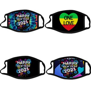 2021 Happy New Year Designer Face Mask Party Masks Washable Reuseable Face Mask Digital Printed Protection Cotton Masks