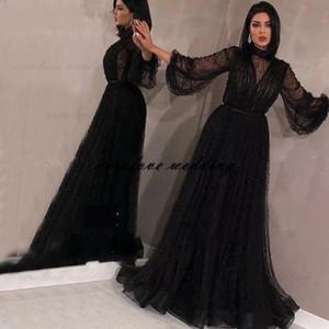 Black Saudi Arabia вечернее платье 2021 с длинными рукавами жемчуг бисером выпускных вечеринок Promate Priend Party