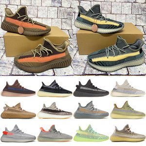 Novo Top Kanye v2 Ash Pedra Azul Pérola Homens Running Shoes Fade Carbono Natural Terra Cinzas Reflexivas Mens Trainers Mulheres Sneakers