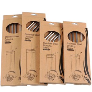304 Stainless Steel Straws Set Straw Spoon Pack Drinking Pipe Bag Bubble Tea Juice Sipping Tool Brush Enviromental-friendly Nylon Paper Bag