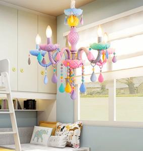 Colorful Crystal Pendant Lights Modern Children Makaron Hanging Light Bedroom Loft Lighting Fixtures Lustre Lamp LED E14 Bulbs