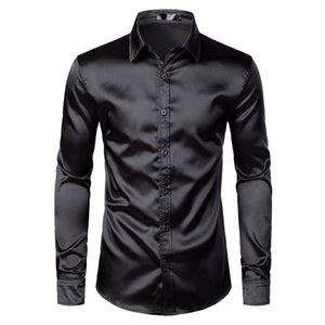 Men's Black Satin Luxury Dress Shirts 2020 Silk Smooth Men Tuxedo Shirt Slim Fit Wedding Party Prom Casual Shirt Chemise Homme Y0104